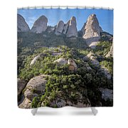 Rock Formations Montserrat Spain Shower Curtain