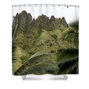 Rock Formations Seen Through Coconut Shower Curtain