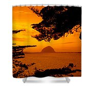 Rock In A Lake At Dusk, Morro Rock Shower Curtain