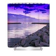 Rock Jetty Sunrise Shower Curtain
