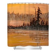 Rock Lake Morning 3 Shower Curtain