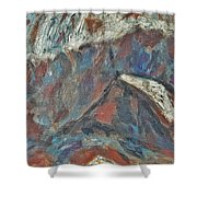 Rock Landscape Abstract  Fall Waves And Forests Swirling In The Background In Red Blue Orang Shower Curtain