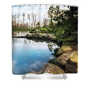Rock Lined Pond Shower Curtain
