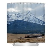 Rock Mountain Front- Train Shower Curtain
