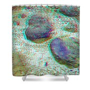 Rock Shapes 3 -use Red And Cyan 3d Glasses Shower Curtain