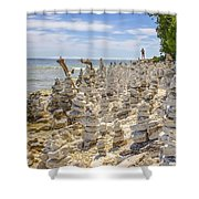 Rock Structures On Lake Michigan Shower Curtain
