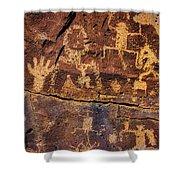 Rock Wall Of Petroglyphs Shower Curtain