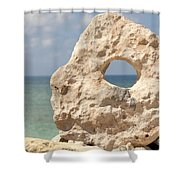 Rock With A Hole With A Tropical Ocean In The Background. Shower Curtain