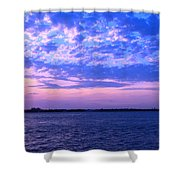 Rockaway Point Dock Sunset Violet Orange Shower Curtain