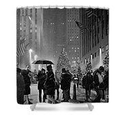 Rockefeller Center Christmas Tree Black And White Shower Curtain