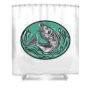 Rockfish Jumping Color Oval Drawing Shower Curtain
