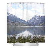 Rockies Over The Lake Shower Curtain