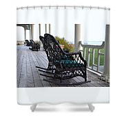 Rocking Chairs On The Porch Shower Curtain