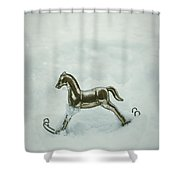 Rocking Horse In Snow Shower Curtain