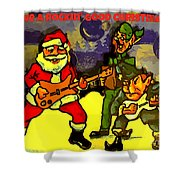 Rocking Roll Christmas Card Shower Curtain