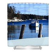 Rockport Blue Shower Curtain