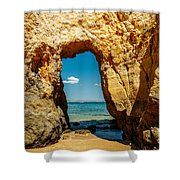 Rocks And Ocean Landscape In Lagos, Wall Art Print, Landscape Art, Poster Decor, Printable Photo Shower Curtain