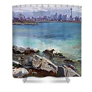 Rocks N' The City Shower Curtain