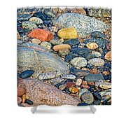Rocks Of Many Colors On Lake Superior Shoreline In Pictured Rocks National  Shower Curtain
