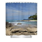 Rocks Trees And Ocean Shower Curtain