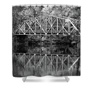 Rocks Village Bridge In Black And White Shower Curtain