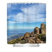 rocky Australian mountain summit Shower Curtain