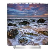 Rocky Beach At Sandy Hook Shower Curtain
