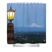 Rocky Butte Viewpoint With Mount Hood During Evening Blue Hour Shower Curtain