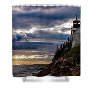 Rocky Cliffs Below Maine Lighthouse Shower Curtain