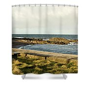 Rocky Coast Bench Shower Curtain