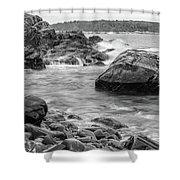 Rocky Coast Of Maine In Bw Shower Curtain by Doug Camara