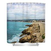 Rocky Coastline In Nice, France Shower Curtain