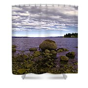 Rocky Cove In Sydney British Columbia Shower Curtain