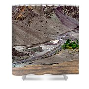 Rocky Landscape Of Leh City Ladakh Jammu And Kashmir India Shower Curtain