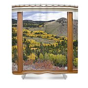Rocky Mountain Autumn Picture Window View Shower Curtain