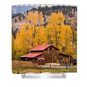 Rocky Mountain Autumn Ranch Landscape Shower Curtain