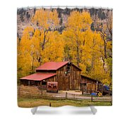 Rocky Mountain Barn Autumn View Shower Curtain