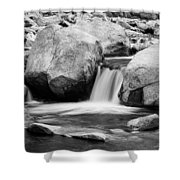 Rocky Mountain Canyon Waterfall In Black And White Shower Curtain