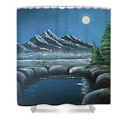 Rocky Mountain Fullmoon Shower Curtain