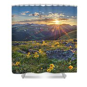 Rocky Mountain National Park Summer Sunflowers Pano 1 Shower Curtain