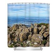 Rocky Mountain Summit Overlooking Beautiful Vally Shower Curtain