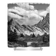 Rocky Mountain Tranquil Escape In Black And White Shower Curtain