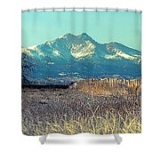 Rocky Mountain Twin Peaks Wood Fence View Shower Curtain