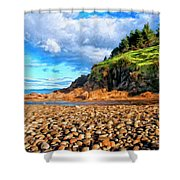 Rocky Oregon Beach Shower Curtain