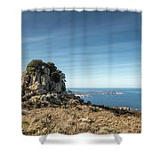 Rocky Outcrop Above Calvi Bay In Corsica Shower Curtain