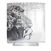 Rocky Outcrop In Snowdonia. Shower Curtain