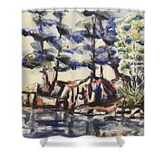 Rocky Pines Shower Curtain