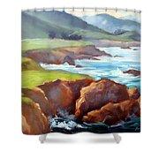 Rocky Point Afternoon Big Sur Shower Curtain