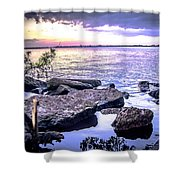 Rocky River Shore Shower Curtain