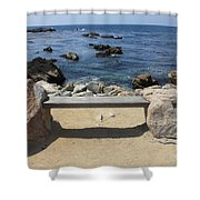 Rocky Seaside Bench Shower Curtain